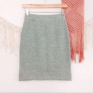 St John Green Blue Stripe Texture Pencil Skirt